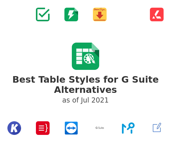 Best Table Styles for G Suite Alternatives