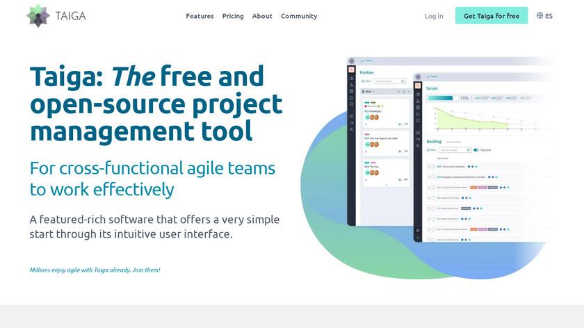 Taiga.io Landing Page