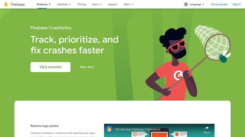 Crashlytics Landing Page