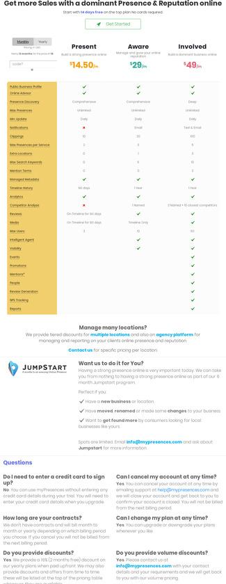 myPresences Pricing