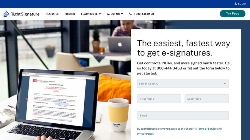 RightSignature Landing Page