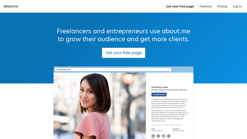 about.me Landing Page
