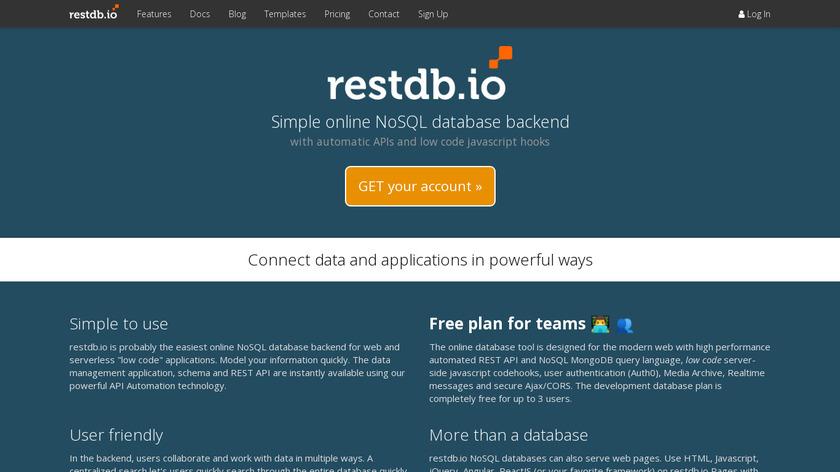 restdb.io Landing Page