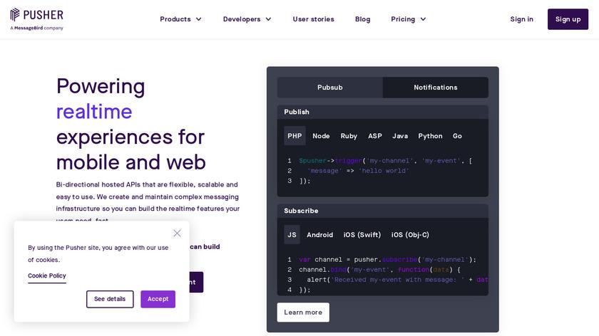 Pusher Landing Page
