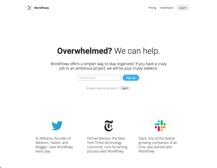 WorkFlowy Landing Page