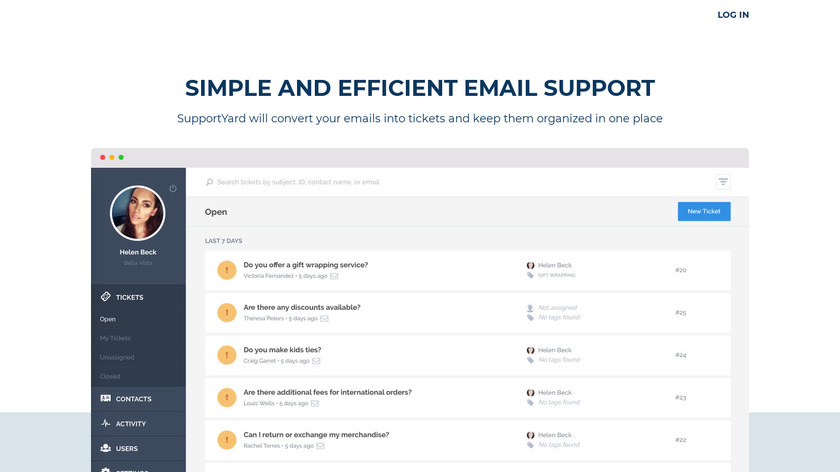 SupportYard Landing Page