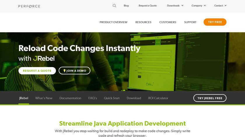 JRebel Landing Page