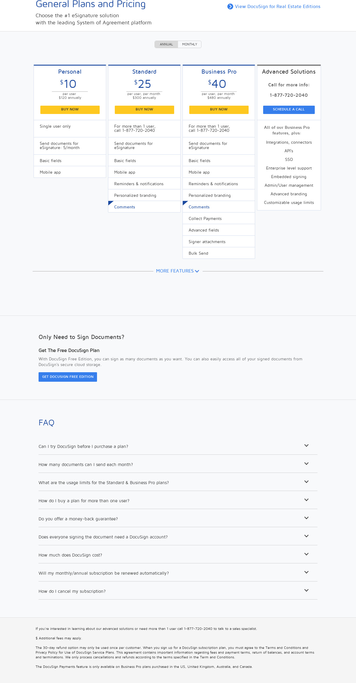 DocuSign Pricing as of 2018-09-24