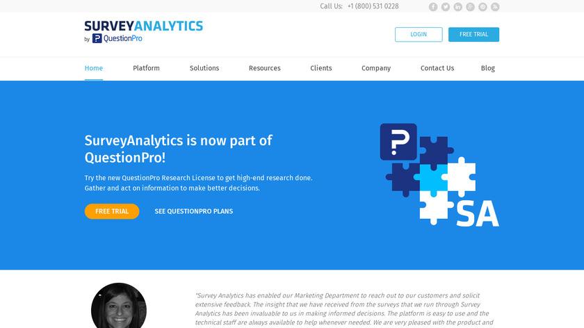 Survey Analytics Landing Page