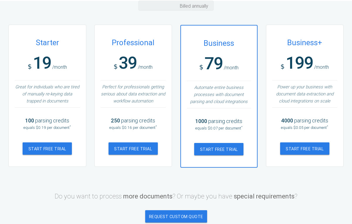 DocParser Pricing as of 2018-09-24