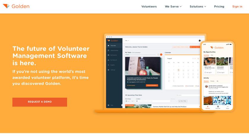 Golden Volunteer App Landing Page