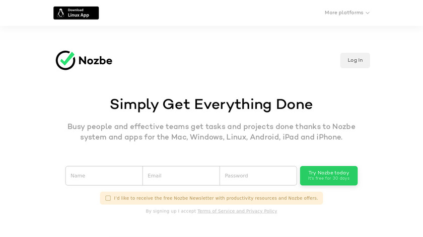 Nozbe Landing Page