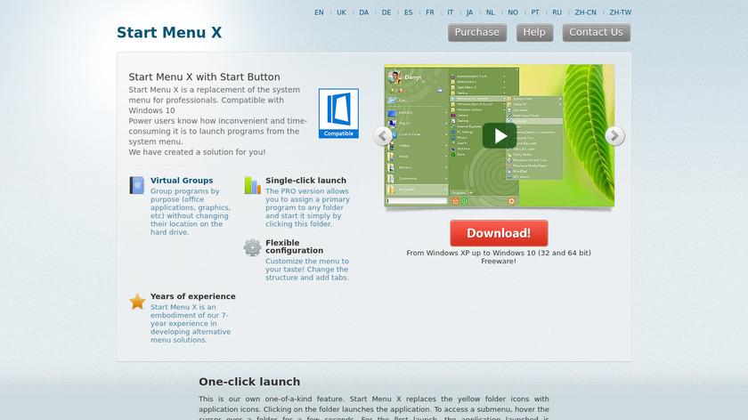 Start Menu X Landing Page