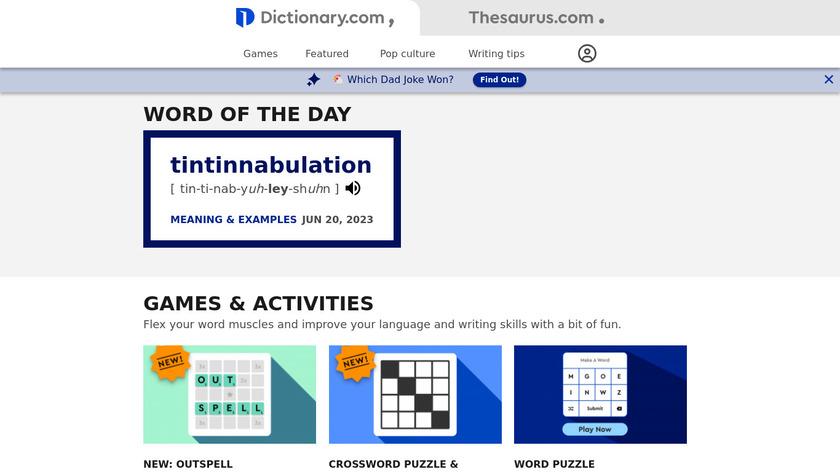 Dictionary.com Landing Page