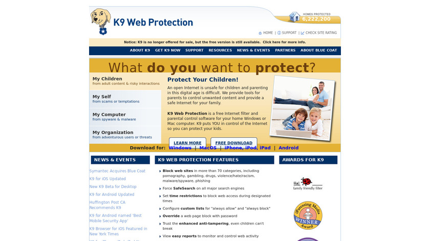 K9 Web Protection Landing Page