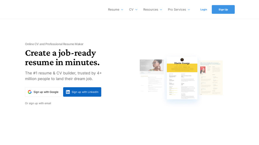 VisualCV Landing Page