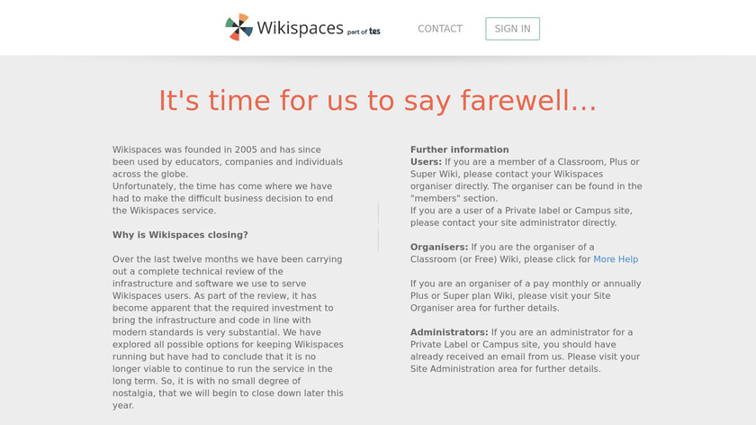 Wikispaces Landing Page