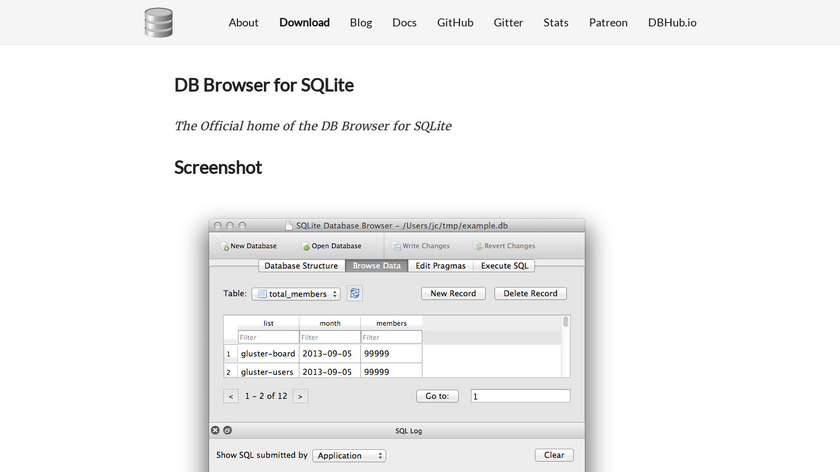 DB Browser for SQLite Landing Page