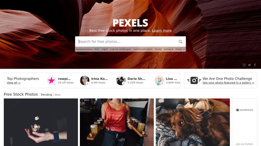 Pexels Landing Page
