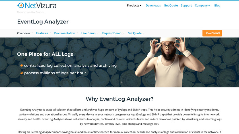 NetVizura EventLog Analyzer Landing Page