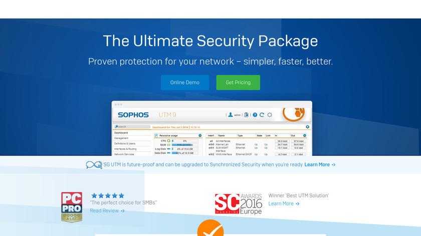Sophos UTM Landing Page