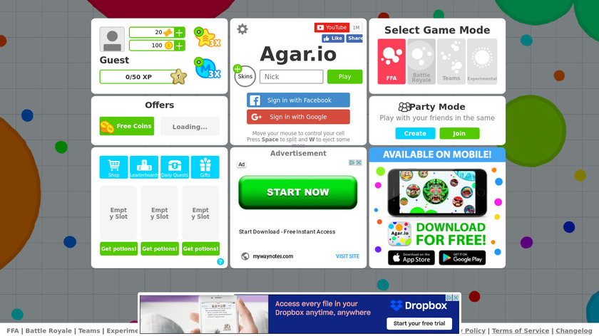 Agar.io Landing Page