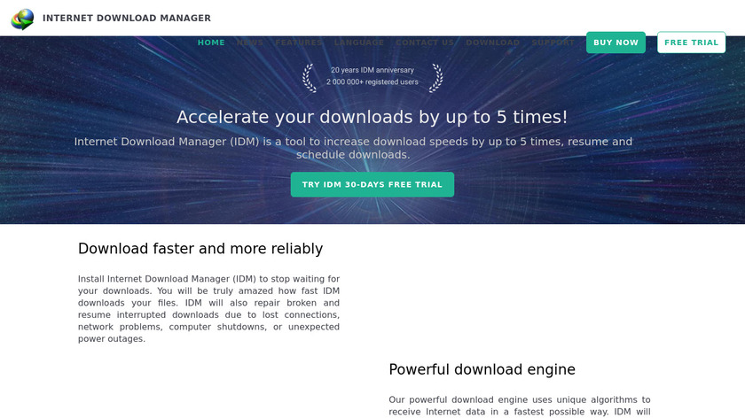 Internet Download Manager Landing Page