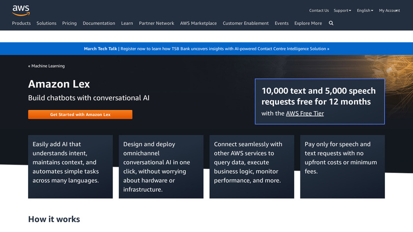 Amazon Lex Landing Page
