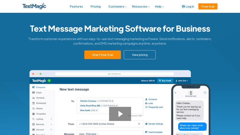 TextMagic Landing Page