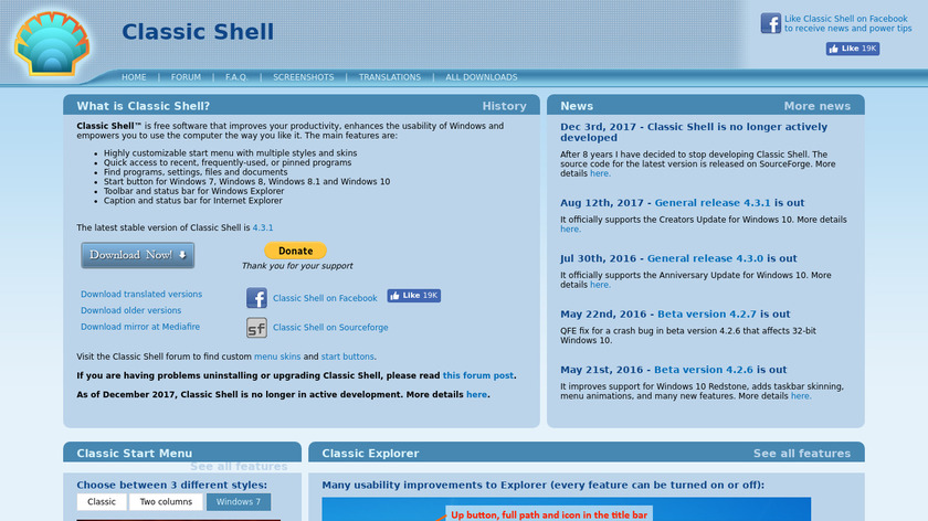 Classic Shell Landing Page