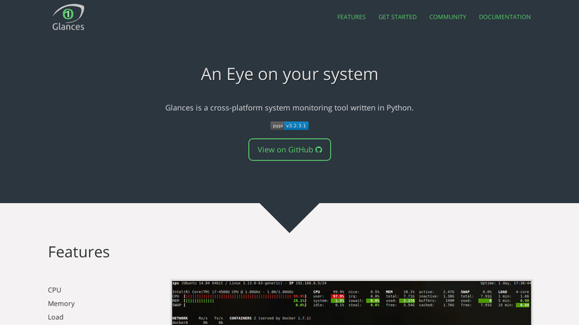 glances system monitoring Landing Page