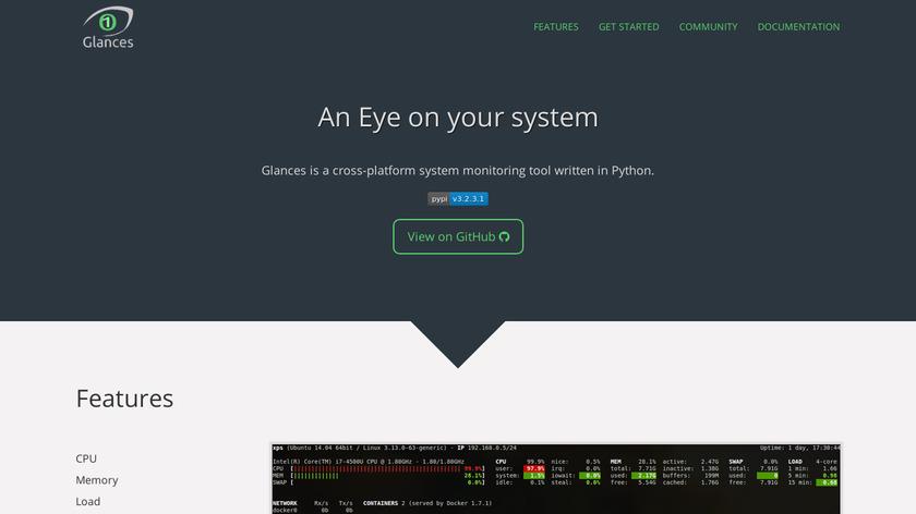 glances system monitoring Landing Page