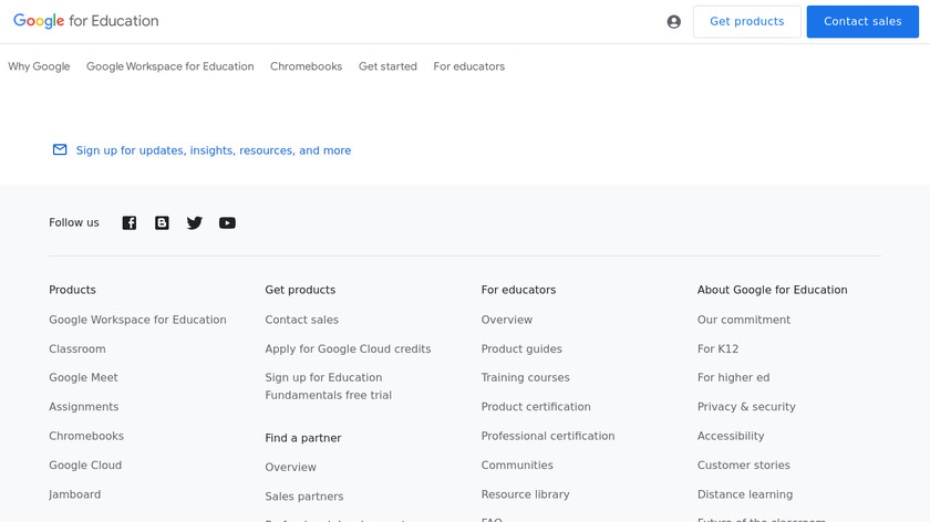 Google for Education Landing Page