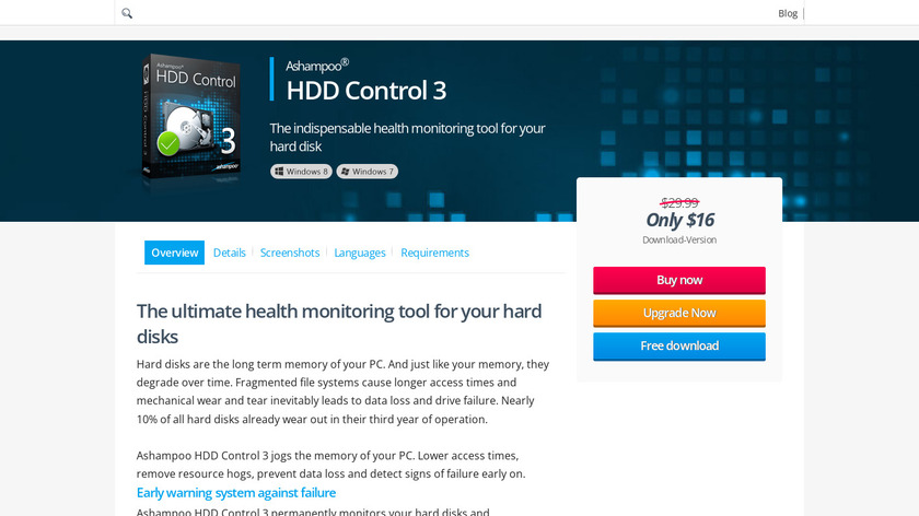 Ashampoo HDD Control Landing Page