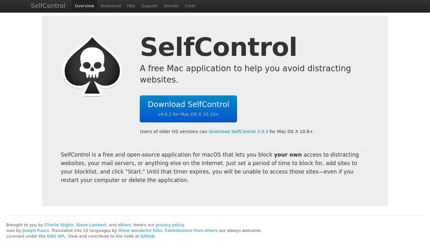 SelfControl Landing Page