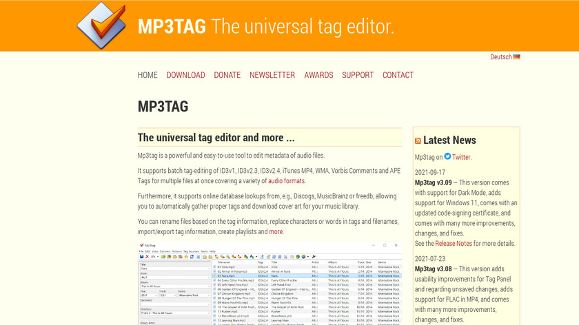 Mp3tag Landing Page