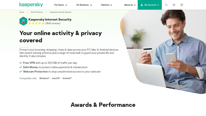 Kaspersky Internet Security Landing Page