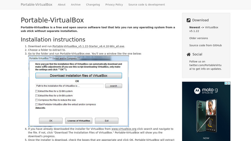 Portable Virtualbox Landing Page