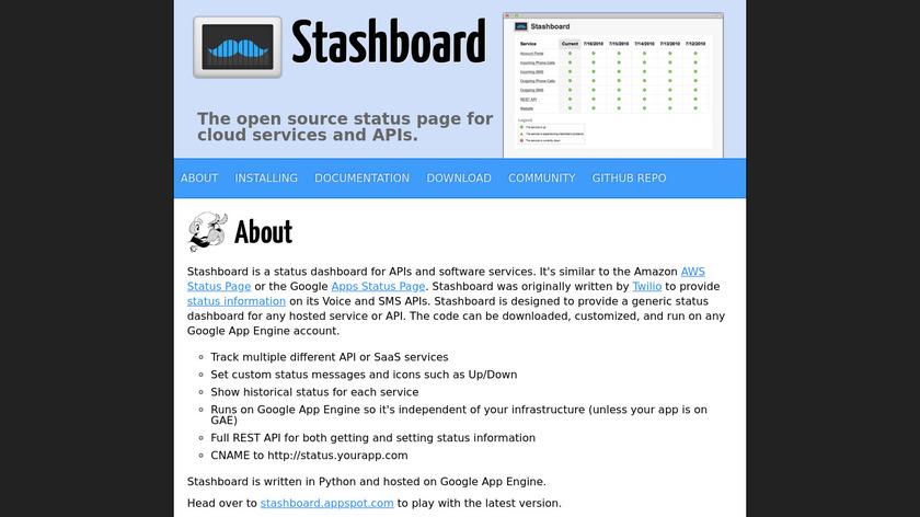 Stashboard Landing Page