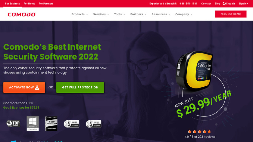 COMODO Internet Security Landing Page