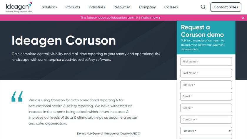 Ideagen Coruson Landing Page