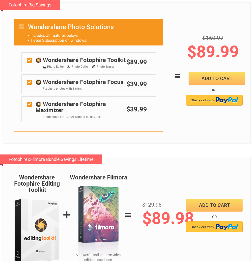 Fotophire Editing Toolkit Pricing as of 2018-09-28