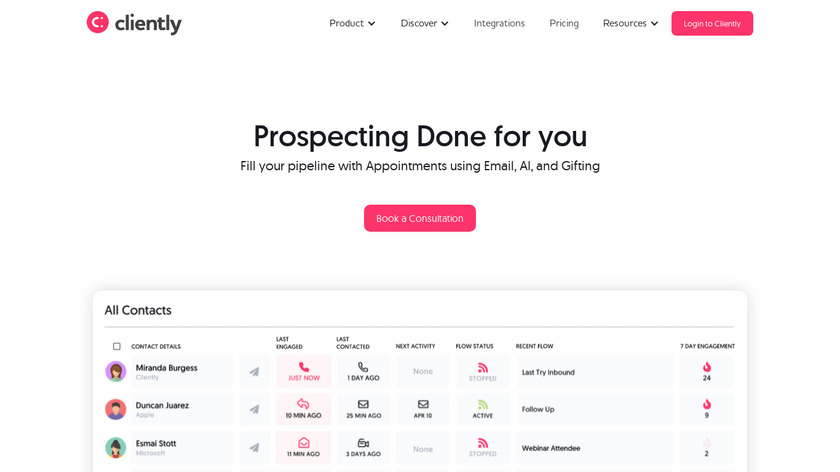 Cliently Landing Page