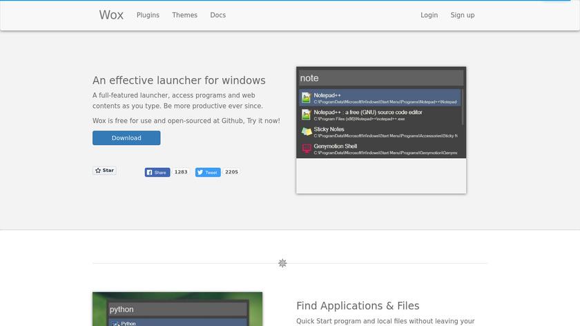 Wox Landing Page