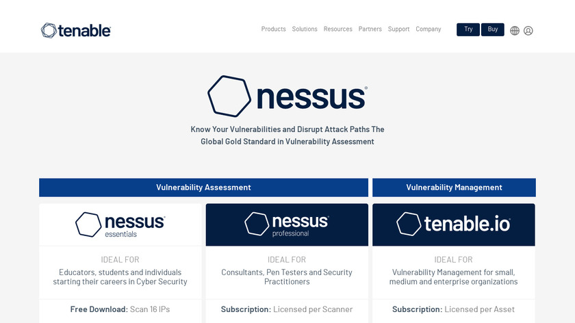 Nessus Landing Page