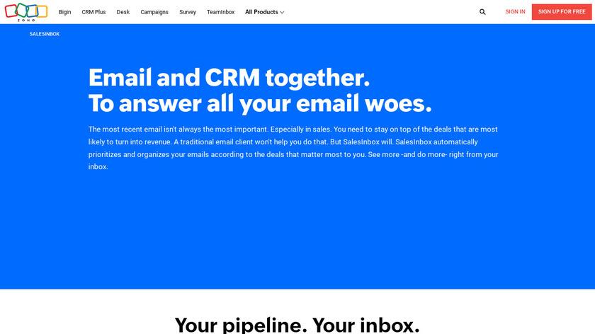Zoho SalesInbox Landing Page