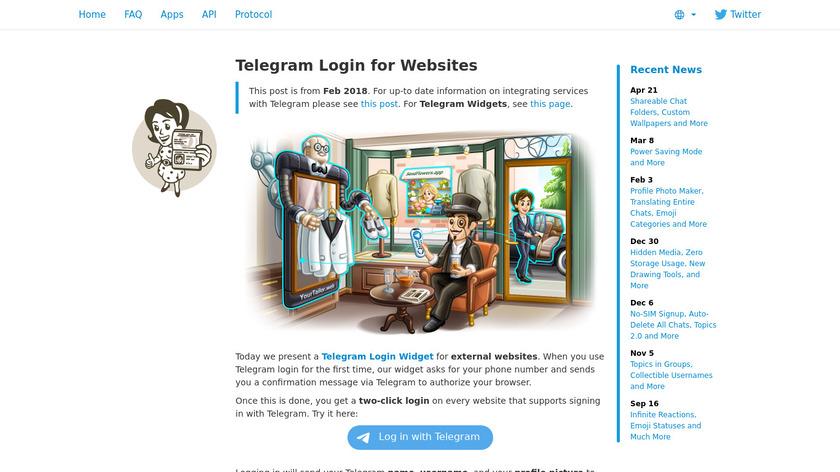 Telegram Login Widget Landing Page