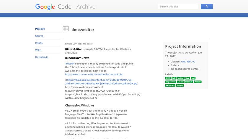 dmcsveditor Landing Page