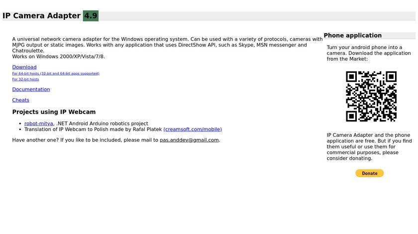 IP Webcam Landing Page