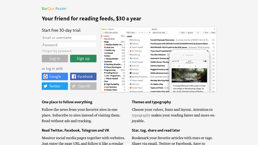 BazQux Reader Landing Page